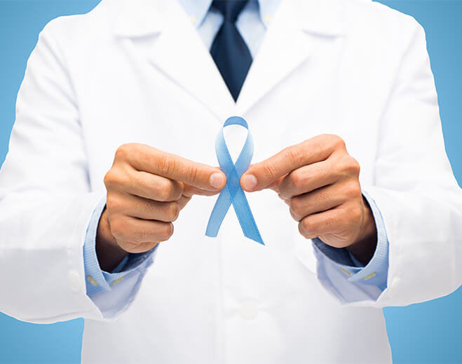 prostate cancer ribbon being held by doc